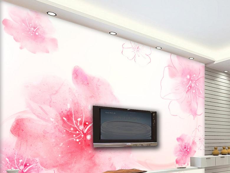 红色梦幻花朵清新电视沙发背景墙墙纸壁纸