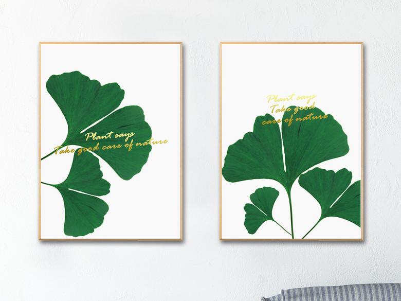 植物装饰画银杏叶子装饰画无框画