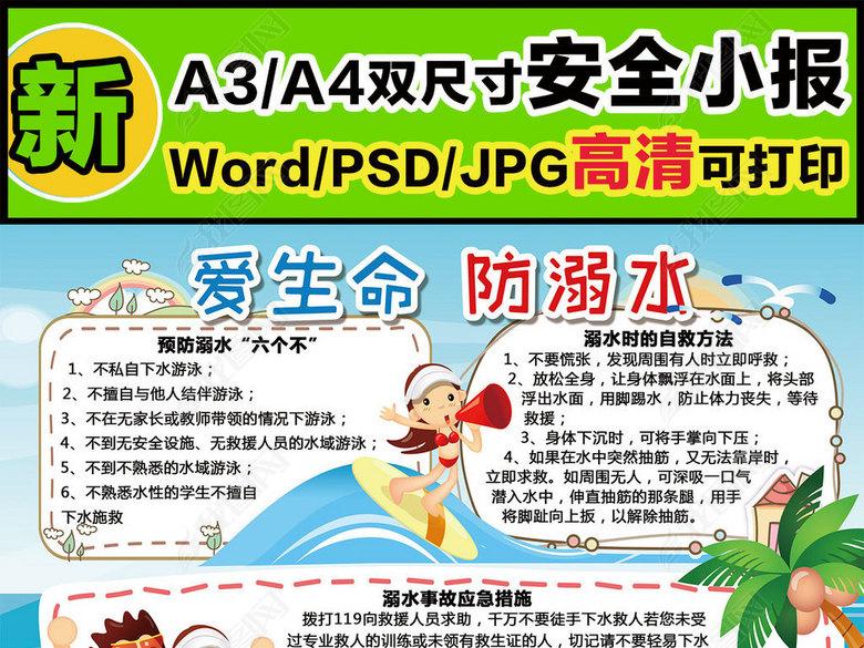 word防溺水安全手抄报图片宣传板报