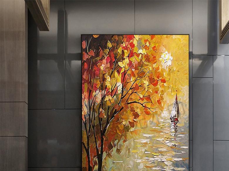 现代浪漫树林小船油画装饰画无框画