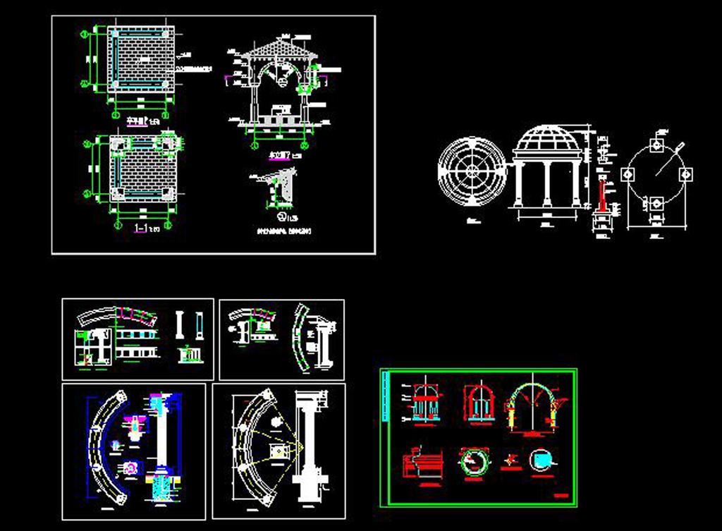 欧式廊凉亭cad立面图施工图大样图设计平面图下载 别墅CAD图纸图片大全 编号 16645101