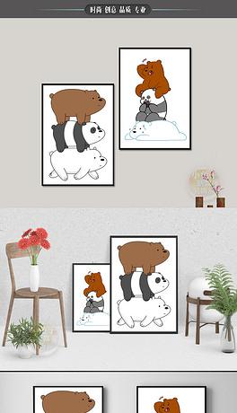 TIF不分层三只熊 TIF不分层格式三只熊素材图片 TIF不分层三只熊设计模板 我图网