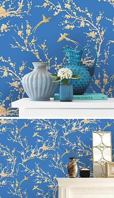 复古欧式手绘树枝梅花樱花鸟墙纸壁画背景墙-设计师主页