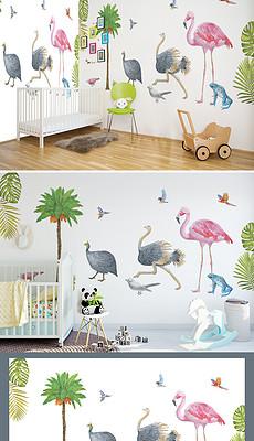 手绘热带动物森林墙贴-青蛙贴纸设计 青蛙贴纸设计素材下载 青蛙贴纸