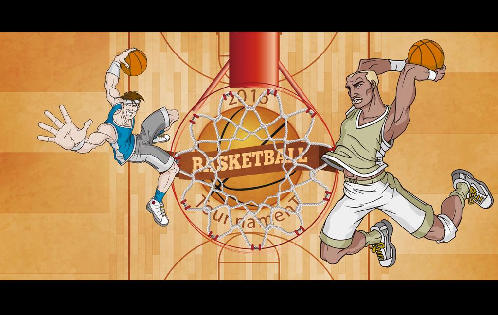 动漫手绘篮球场灌篮手绘图工装背景墙图片设计素材 高清psd模板下载
