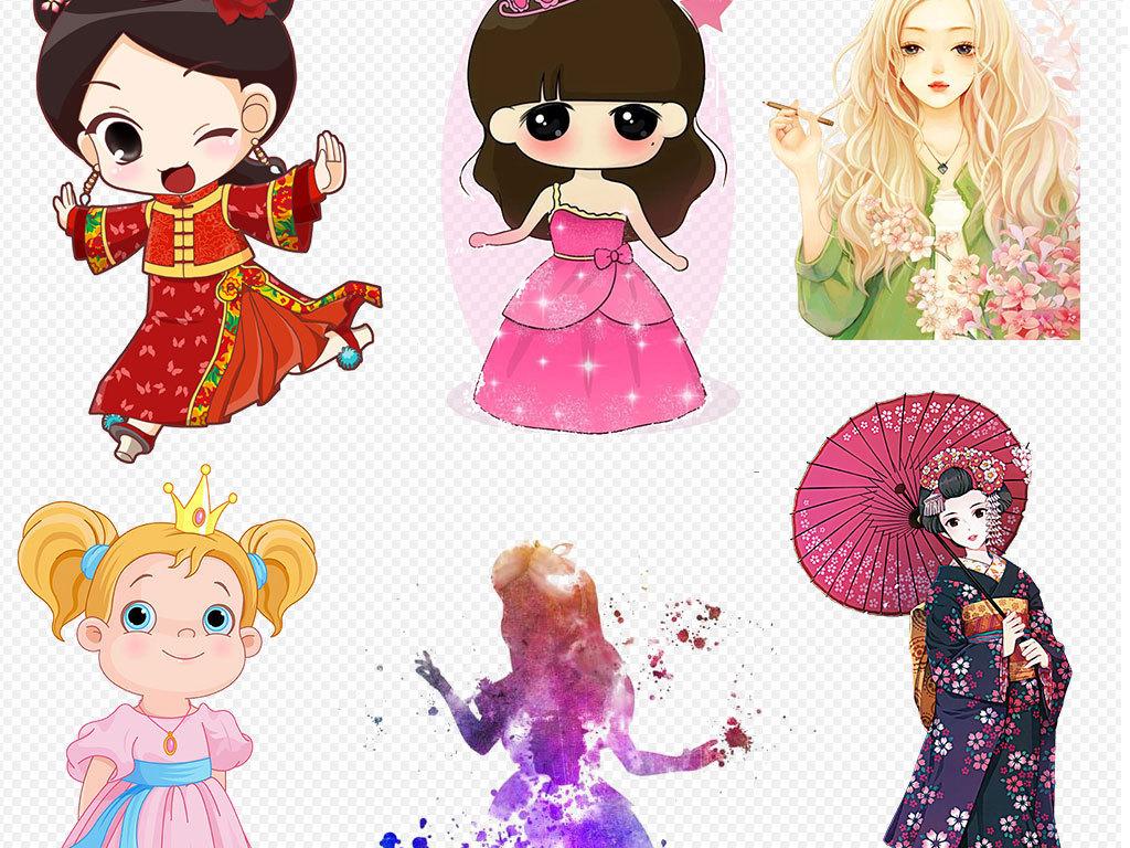 手绘彩绘卡通时尚美女png素材图片设计_高清其他模板