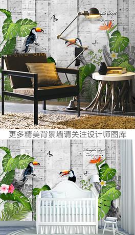 3D手绘大嘴鸟热带森林电视背景墙-PSD森林大鸟 PSD格式森林大鸟素