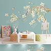 分层工笔玉兰花背景墙手绘花鸟新中式装饰画