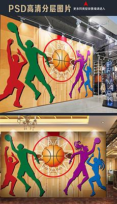 篮球运动手绘工装背景墙-布贴画图片素材 布贴画图片素材下载 布贴画