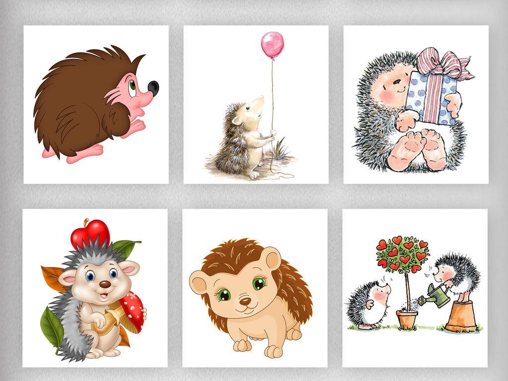 卡通刺猬动物设计png透明背景免扣.