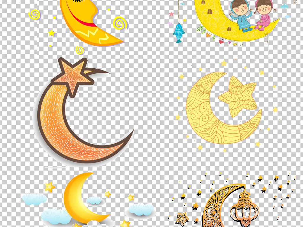 卡通可爱半圆月亮晚安睡眠设计素材图片_psd模板下载