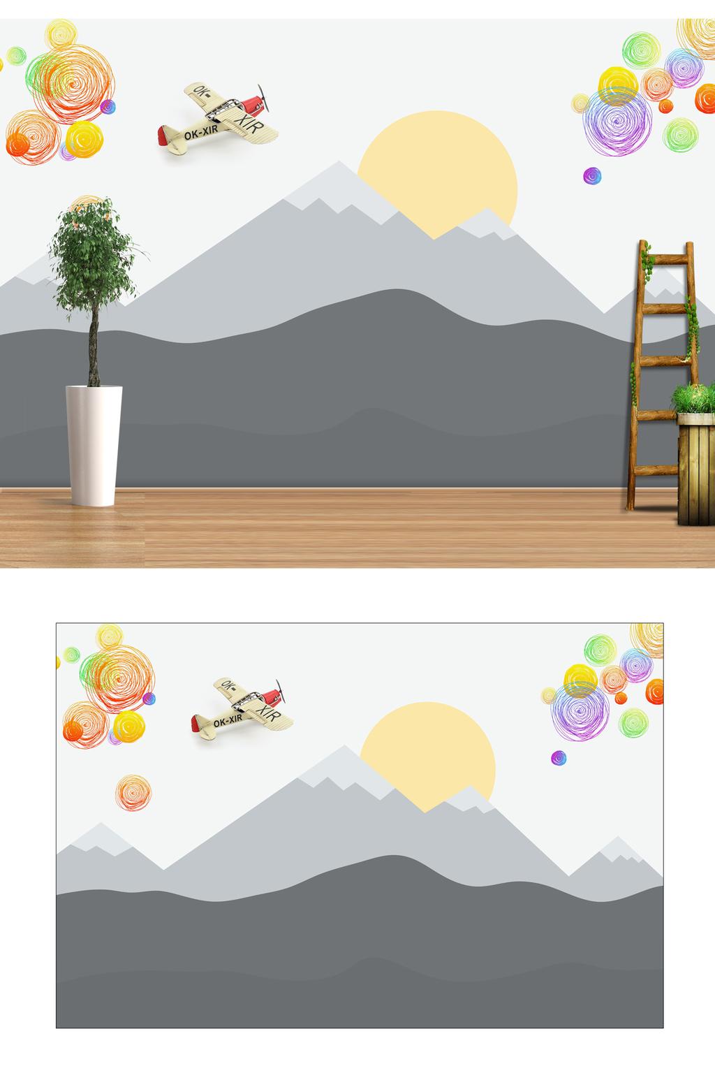 棒棒糖 山水 卡通 儿童房 幼儿园 放飞梦想 彩色涂鸦 远山 黑白山水 图片