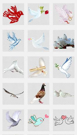 和平鸽飞翔的鸽子手绘白鸽免抠png素材