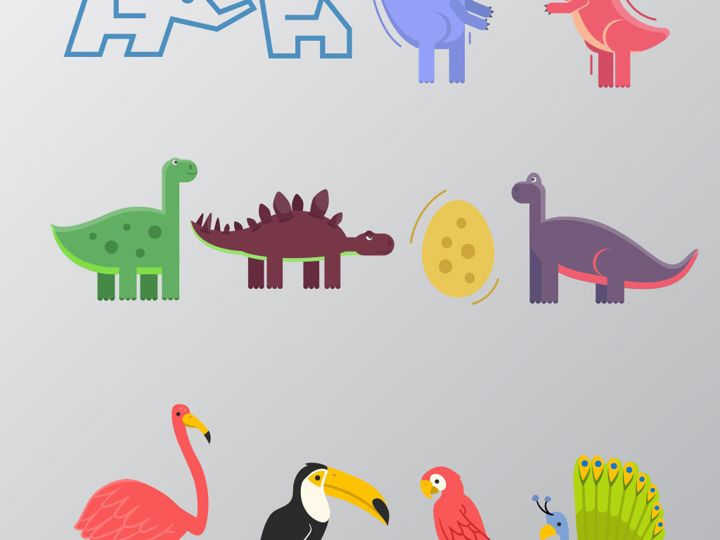 彩色三角形动物剪影矢量设计素材