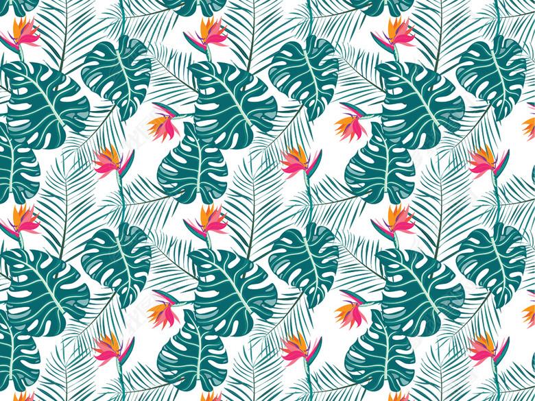 棕榈叶图案春夏植物图案2018热带植物印花(图
