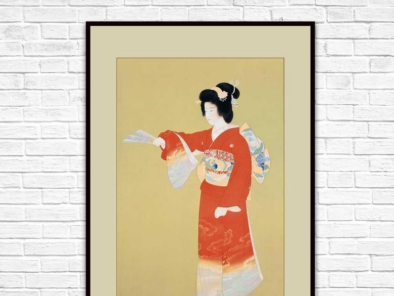 高清精美日本浮世绘美人和服序之舞装饰画