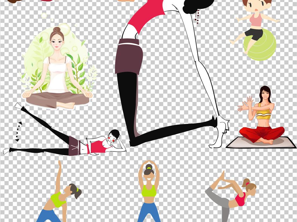 可爱卡通瑜伽美女png透明背景免抠.