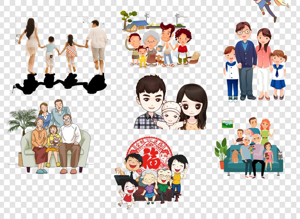 卡通手绘全家福一家人png免扣素材图片 模板下载 16.95MB 其他大全 标志丨符号