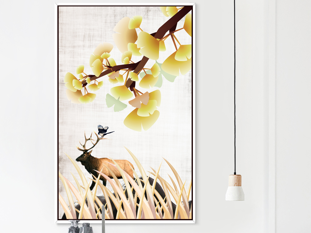 现代简约植物花卉装饰画动物装饰画