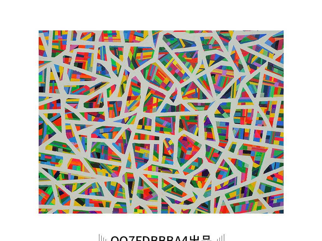 现代简约多彩红色几何格子线条抽象装饰画