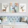 简约北欧抽象水彩麋鹿三联画装饰画