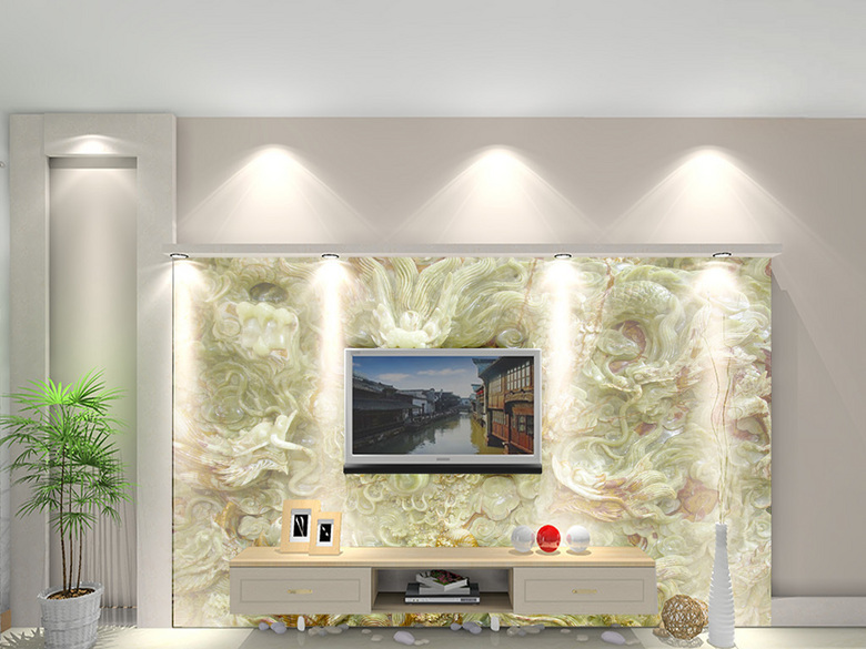 高清玉雕九龙戏珠青龙大理石纹理壁画背景墙