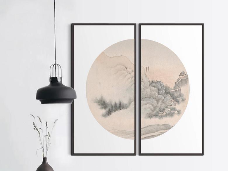 雅致时尚现代中式圆形无框画山水装饰画