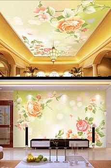 欧式手绘牡丹花背景墙图片