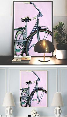 粉色背景蓝色自行车绘画装饰画-自行车油画图片 自行车油画设计素材
