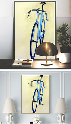 简约小清新蓝色自行车静物绘画装饰画-小清新蓝色背景图片 小清新蓝