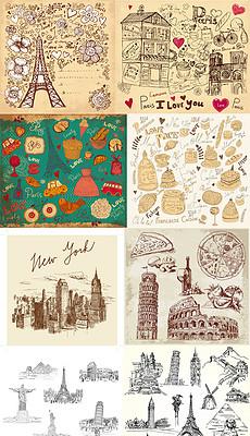 描旅游旅行风土人情世界知名著名建筑美食AIEPS矢量图-世界著名建