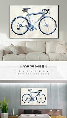 美式复古浅蓝色自行车绘画装饰画-自行车横幅图片素材 自行车横幅图