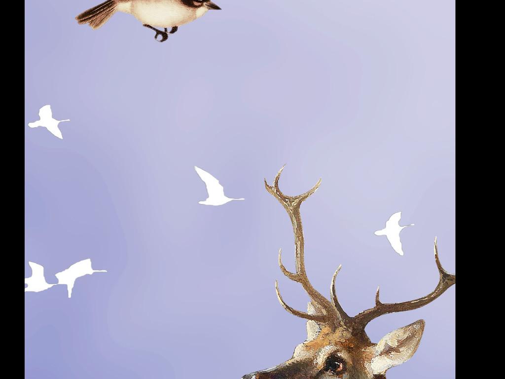 森系星空麋鹿唯美图片