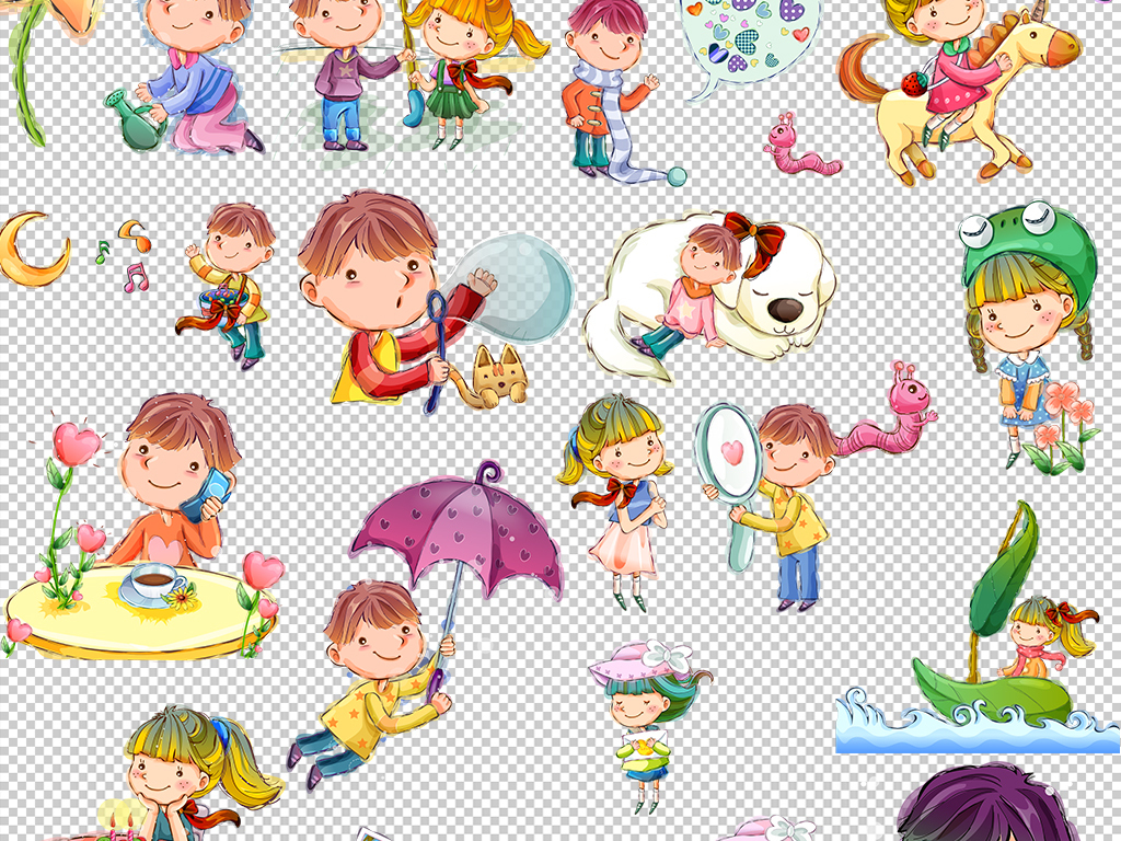 可爱手绘卡通男孩女孩幼儿园矢量免扣素材图片 ai模板下载 132.53MB