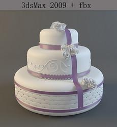 婚礼蛋糕3d模型三层婚礼蛋糕素材图片