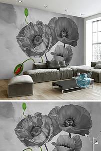 欧式高清手绘黑白虞美人背景墙壁画