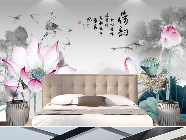 新中式荷韵水墨荷花客厅电视背景墙
