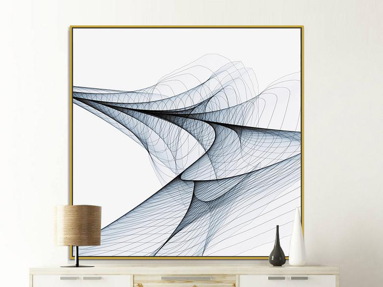北欧现代抽象艺术装饰画几何线条结构无框画