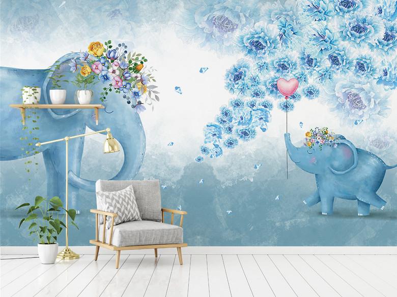 北欧手绘大象花卉儿童卧室客厅电视背景墙