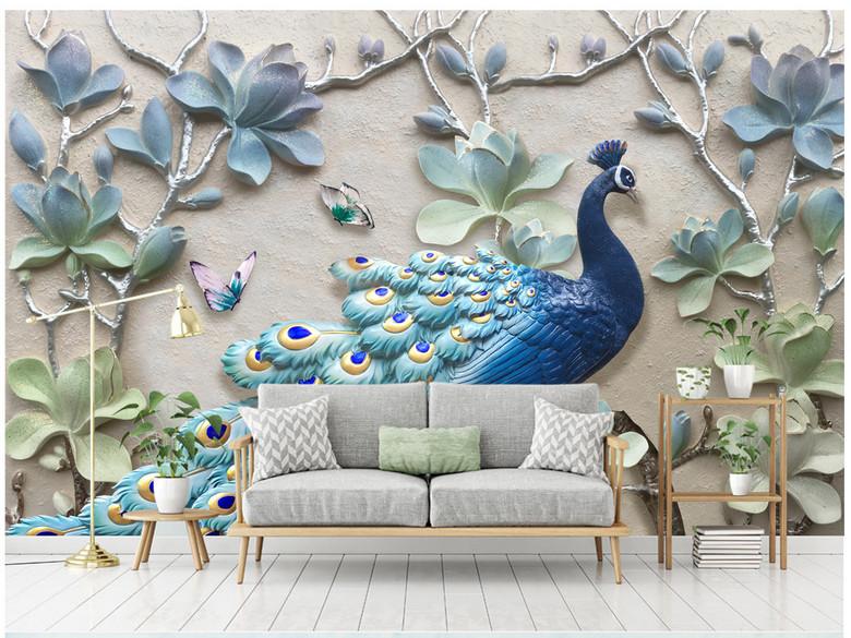 现代清新立体浮雕孔雀背景墙装饰画