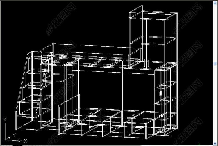 画面床CAD三维图cad变成高低0图片