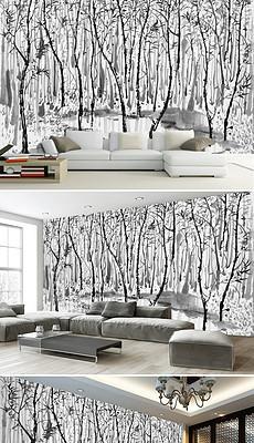 手绘吴冠中水墨画树林池塘背景墙装饰画