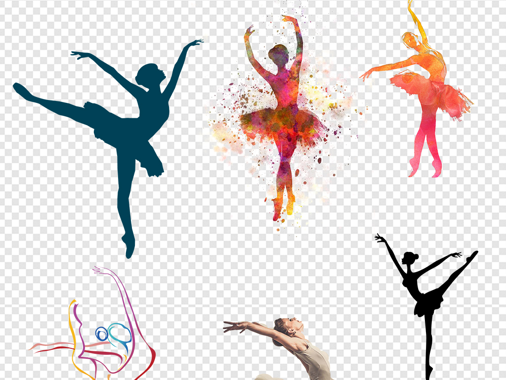 手绘水彩芭蕾舞者png素材