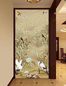 新中式山水手绘花鸟玄关背景墙装饰画-手绘花鸟玄关背景墙图片 手绘图片