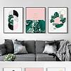 现代北欧装饰画简约粉色绿植客厅三联装饰画