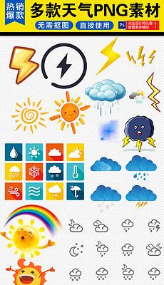 卡通天气图标png图标免抠素材-手机png图片素材 手机png图片素材下