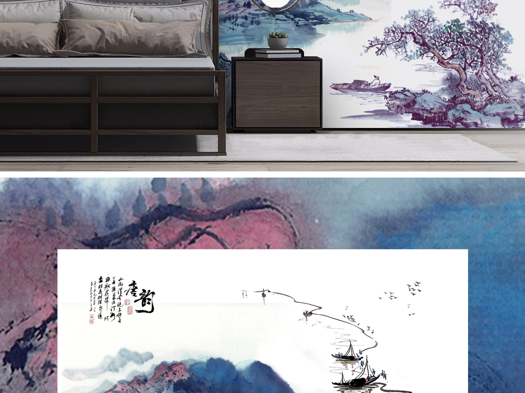 新中式水墨山水画背景墙壁纸壁画图片设计素材 高清模板下载 210.42图片