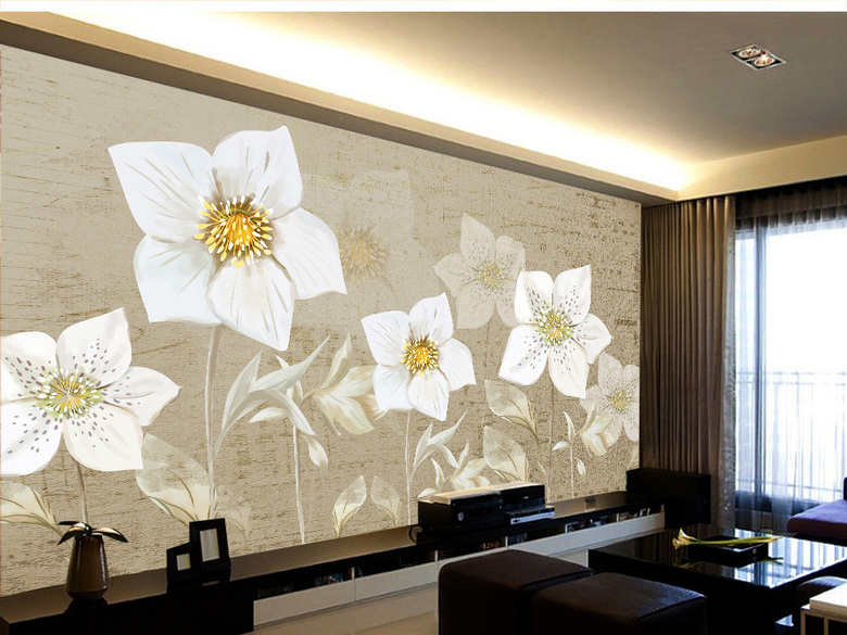 手绘花卉背景墙