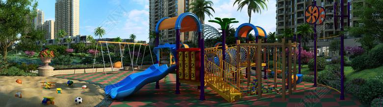 小区公园儿童游乐场滑梯沙地3D模型