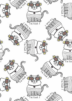 动物图案线描猫手绘T恤图案-包包卡通图片素材 包包卡通图片素材下图片